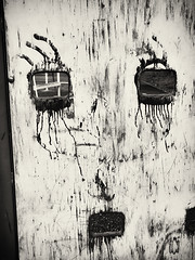 abstract with paint on wood (Pomo photos) Tags: abstract wood desk face faces portrait canon m100 canonm100 sepia grain surreal surrealism decay abandoned lost details grid eye eyes mouth smudge smear blackandwhite blackwhite bw monochrome mono mood moody paint old abstraction