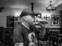 Nice hat. . Sterkowski leather baseball cap. (CWhatPhotos) Tags: cwhatphotos flickr pub drink man male me beer lager bw mono sterkowski leather hat hats baseball cap polish poland made maker monochrome portrait wear wearing