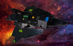 The Raven Star (EliteGuard01) Tags: lego ldd legodigitaldesigner space spaceship scify sciencefiction crimsonstar dragoneyemunitions testbed experimental cruiser restomod restored moc collaboration stealth cloakingdevice exoforce