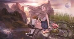 Free (♥ Lucie ♥) Tags: sl second life hextraordinary tableau vivant swallow letre gaia pixicat erratic roc pixies faeries cliff nature windy moon fantasy free wind genus babyface maitreya lara felix mushroom beautiful girl