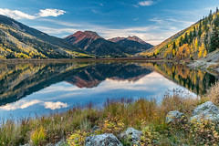 Crystal Morning (Kirk Lougheed) Tags: colorado crystallake ouraycounty populustremuloides sanjuanmountains usa uncompahgrenationalforest unitedstates aspen autumn fall lake landscape outdoor reflection tree water