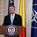 Klaus Iohannis, the President of Romania, holding a press conference in the Cotroceni Palace