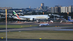 Emirates on the In (1 of 3) (Jungle Jack Movements (ferroequinologist) all righ) Tags: eco vh sydney international airport kingsford smith botany bay 16r mascot queen city view one world fly flown trip passenger wing airborne rapid takeoff land touchdown airplane aeroplane aircraft journey aerial inflight landing plane airliner wind sky turbulence aisle window captain crew terminal gear 飞机飛行機 самолет aereo avion aerobatics fuselage altitude pilot navigator radar turbo emirates boeing 777 a6eco dubai arab
