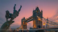 Girl with a Dolphin - London (~ Floydian ~) Tags: henkmeijer photography floydian girlwithadolphin davidwynne london towerbridge sunset evening twilight bluehour cityscape citylights statue illuminated bridge londontowerbridge canon canontse24mmf35lii tiltshift tiltshiftlens canon5dmarkiv