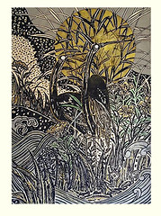 Unknown flowers and bird (Japanese Flower and Bird Art) Tags: flower bird masao ido modern woodblock print japan japanese art readercollection