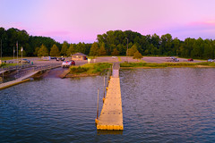 Sunset By The Landing - 092819-185916 (Glenn Anderson.) Tags: dusk sunset clouds cloudsstormssunrisessunsets sky trees landscape lake wate impoundment pastels solarreflection partlycloudymavic2pro dji drone aerial flight