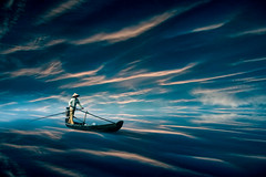 Fantasy Ocean (Malcolm Hare Photography and Tuition) Tags: hss photoshop composite art fantasy boat sea ocean ship man rowing sky light blue