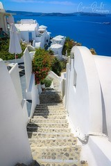 Downstairs (corineouellet) Tags: europe blue white canonphoto blueocean bluesky grèce greece santorini oia travel mountains sea view oceanview path stairway downstairs escaliers stairs