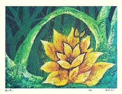 Unknown flower (Japanese Flower and Bird Art) Tags: flower masao ido modern woodblock print japan japanese art readercollection