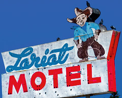 The Lariat and Friends (Marion Brite) Tags: wyoming lincolnhighwayroadside dead ghost neon motel hotel room overnight dive old decay cowboy