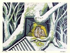 Owl (Japanese Flower and Bird Art) Tags: bird owl strigidae masao ido modern woodblock print japan japanese art readercollection