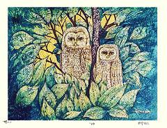 Ural owl (Japanese Flower and Bird Art) Tags: bird ural owl strix uralensis strigidae masao ido modern woodblock print japan japanese art readercollection