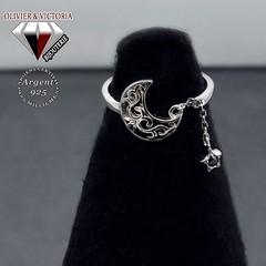 Bague lune avec sa chaîne étoile en argent 925 (olivier_victoria) Tags: argent 925 zircon mystique noir chaine bague ajustable lune etoile unique taille