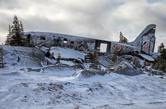 """Miss Piggy"" (j1985w) Tags: canada churchill manitoba snow trees sky clouds hills airplane plane crash graffiti streetart"