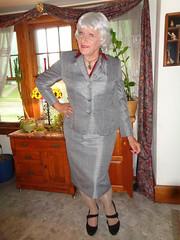 Trying To Make Myself Look Presentable (Laurette Victoria) Tags: silver suit pumps purse laurette woman
