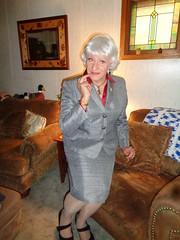 When In Doubt, Wear A Suit (Laurette Victoria) Tags: silver suit pumps laurette woman