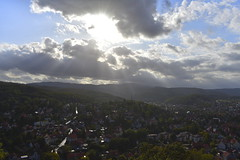 Heaven Over Wernigerode (Robin Shepperson) Tags: landscape wernigerode germany deutschland view sun rays village town green red blue autumn nikon nikkor vr1 hills german holiday clouds weather outside sky trees tree light heaven robinshepperson robin shepperson schierke