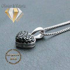 Parure cœur spinelle argent 925 (olivier_victoria) Tags: parure argent 925 boucles oreille boucle doreille pendentif spinelle noir coeur