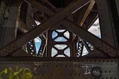 Steel and Sky (Sharky.pics) Tags: marsupialbridge usa unitedstatesofamerica urban steel bridge iron tiltshift wisconsin nikond850 city cityscape milwaukee 2019 august holtonstreetbridge