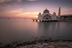 Melaka Straits Mosque in Melaka, Malaysia (Tim van Woensel) Tags: melaka malacca masjid selat strait water rock sunset asia travel slow shutterspeed nd filter sky archway floating mosque stained glass islam beautiful architecture