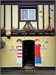 Merchant`s Inn, Rugby (Jason 87030) Tags: rugby rugger sport paint painted painting men cartoon balls event special merchantsinn little church st street door londonporter beer lae booxer inn town uk england 2019 worldcup japan shot frame border windows architecture building october