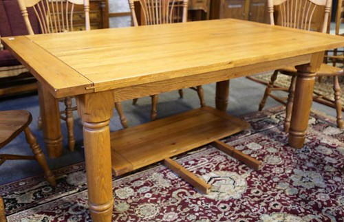 Bassett Oak Table with 2 additional extensions ($476.00)