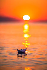 Sail away (Vagelis Pikoulas) Tags: bokeh sun sunset porto germeno greece sea seascape landscape canon 6d tamron 70200mm vc paper boat october autumn 2019 greek europe