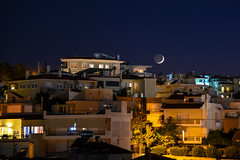 Alimos - moonset #1 (athanecon) Tags: moon newmoon crescent crescentmoon moonset luna lune cityscape citylights city nightsky night nightlights nightview