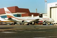 C-FOOB Boeing 757-28A cn 23822 ln 130 Canada 3000 Luton 30Mar90 (kerrydavidtaylor) Tags: ltn eggw bedfordshire londonlutonairport boeing757 boeing757200