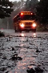 Day end deluge 1 (Thiophene_Guy) Tags: thiopheneguy originalworks olympustoughtg4 tg4 olympustg4 olympusstylustg4 rain rainyday lowperspective floorperspective groundperspective splash raindrop backjet schoolbus bus