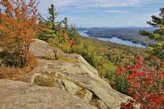 A view from Bald Mountain (Explored-Thanks all!!!) (outdoorpict) Tags: mountains sky leaves changing clouds reds rock shrubs greens yellow outside lakes water adirondacks oldforgeny fall autumn trees colors