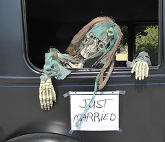 Just Married (flickr flame) Tags: justmarried sign car skeleton ghoul hag witch death eyeballs halloween