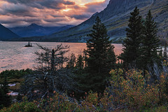 Wild Goose Island - St. Mary Lake, Glacier National Park (j-rye) Tags: landscape sunset glaciernationalpark sonyalpha sonya7rm2 ilce7rm2 mirrorless nature trees lake island clouds mountains