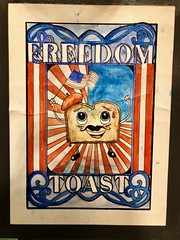 Forager Brewery Freedom Toast Beer Poster (Explore) (rabidscottsman) Tags: scotthendersonphotography freedomtoast beer beerposter stout doublestout toast bread mustache flag americanflag redwhiteandblue mn minnesota rochesterminnesota sunday weekend agedbeer iphone appleiphone iphone8 face art artwork poster foragerbrewery brewery frenchtoast geotagged beret breakfast maplesyrup cinnamon vanilla explored