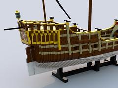 Carrack styrbord skrog agter.lxf (anders.thuesen) Tags: carrack caravela nau nao neef kraak 15th century medieval renaissance santa maria columbus spanish portuguese lego
