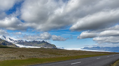 Where the glacier meets the road (Al Case) Tags: near hof iceland glacier road vatnajökull ring al case nikon d750 nikkor 24120mm f4g landscape mountains clouds blue sky highway