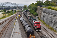 KCT and BNSF Trains in Kansas City, MO (Grant Goertzen) Tags: fxe ferromex kct kansas city terminal railway railroad locomotive train trains bnsf grain tank unit freight missouri emd ge