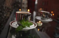 قهوة وحبق (souhers) Tags: café coffee morning matin basilic candle bougie lumière light