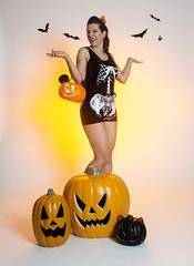 Day 4626 (evaxebra) Tags: halloween blackmilk pumpkins pinup pin up girl bats cat skeleton overalls shorts fifties pompadour 33days 33 33daysofhalloween