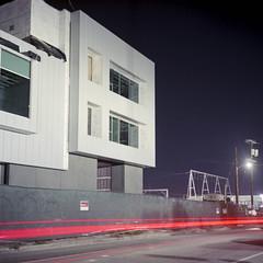 New Housing night time (ADMurr) Tags: la new housing arts district night rolleiflex 35 e zeiss planar dba434