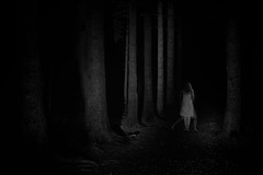 dancing fairy (the ripped bystander) Tags: blackwhite night forest darkness female fairy longexposure