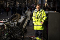 Clean Streets (Leanne Boulton) Tags: urban street candid portrait portraiture streetphotography candidstreetphotography candidportrait streetportrait eyecontact candideyecontact streetlife man male face eyes expression mood emotion feeling smoke smoker smoking cigarette work worker working cleaning cleaner streetsweeper council hiviz hivis fluorescent bright yellow sunlight uniform coat tone texture detail depthoffield bokeh naturallight outdoor light shade shadow city scene human life living humanity society culture lifestyle people canon canon5dmkiii 70mm ef2470mmf28liiusm colour glasgow scotland uk
