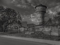 With the tower in the background (wojciechpolewski) Tags: schwarzweis blanconegro blackwhite blancoynegro blackandwhite blancoenegro urbanexploration tower watertower industriallandscape landscape evening industrial wpolewski poland photos photo