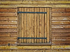 Wall to wall wood (Steve Brewer Photos) Tags: france massifcentral wall wood brown shutters hinges lines geometry