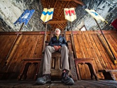 Delusions of Grandeur (Steve Brewer Photos) Tags: france massifcentral castle flags chair throne lowangle wideangle lowpov pov