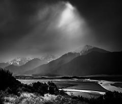 Rain shower, Waimakariri River. NZ (ndoake) Tags:
