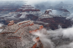 Layers of Time (pdxsafariguy) Tags: arizona winter canyon snow nature landscape rock usa travel scenic cliff erosion southwest desert geology sunrise cold clouds grandcanyon nationalpark fog mist usnationalpark tomschwabel