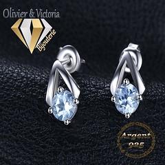 Boucles d'oreilles pyramide topaze bleue en argent 925 (olivier_victoria) Tags: