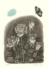 Rose (Japanese Flower and Bird Art) Tags: flower rose rosa rosaceae yoichi masuda modern intaglio print japan japanese art readercollection