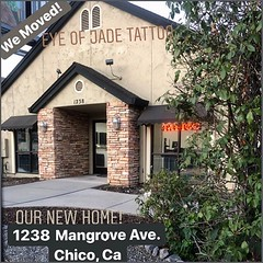 Hey! Happy to announce that Eye of Jade Tattoo has moved into our new home at 1238 Mangrove Ave. We are ironing out the kinks and hanging our art for the next few weeks but I am so excited!! Stop by, say hi, get a tattoo, get a piercing and check it out!!